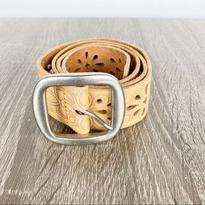Fossil Tan Leather Embossed Cut Out Belt Silver S